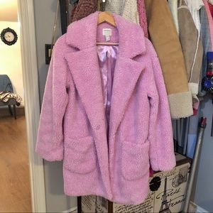 Forever 21 pink shearling coat NWT S